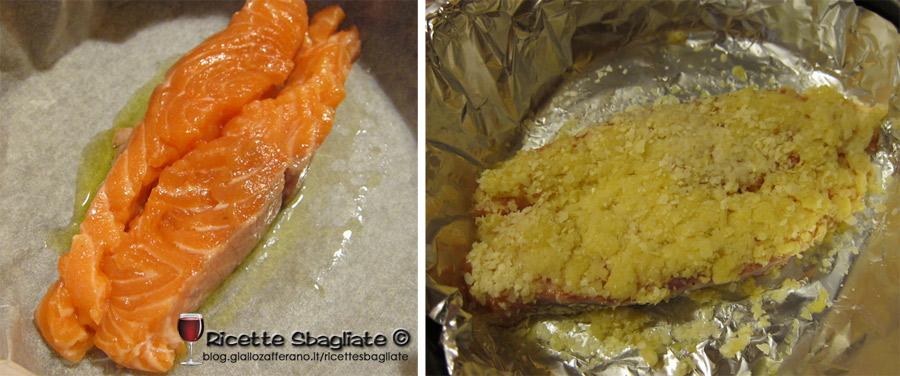 salmone al forno con fiocchi di patate e erbe aromatiche