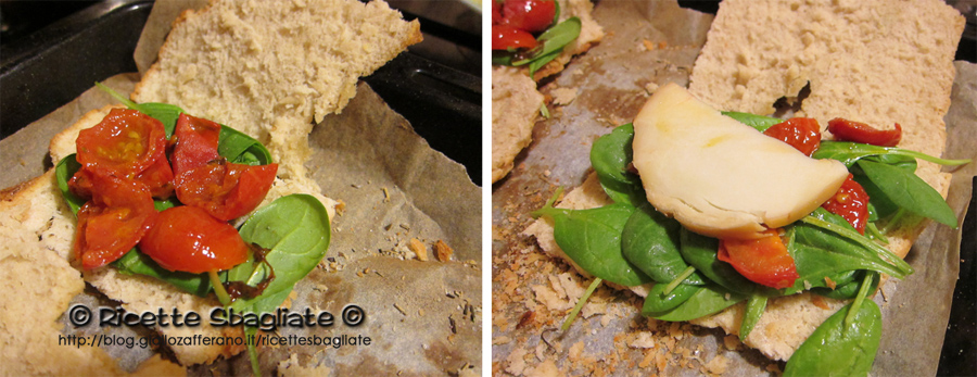 focaccia ripiena con spinacino, pomodori al timo e provola
