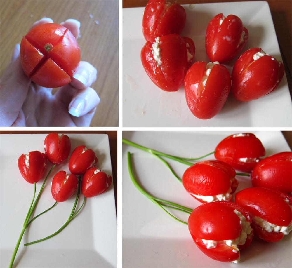 Tulipani di pomodori san marzano e fiocchi di latte, idea buffet finger food freddo estivo