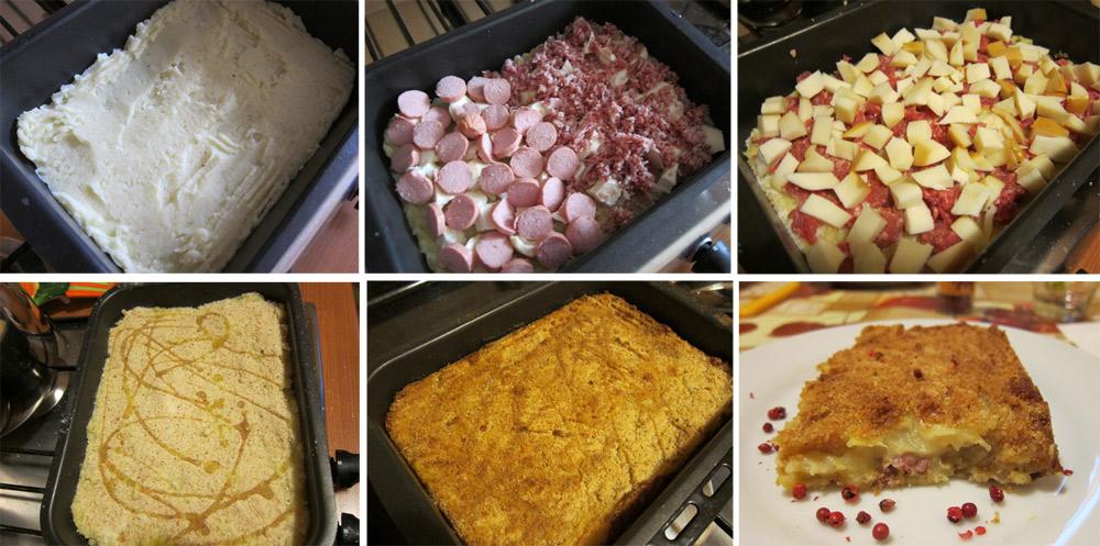 preparazione del tortino di patate