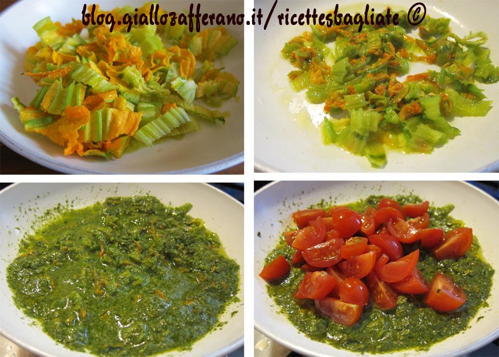 pasta pesto e fiori di zucca in preparazione