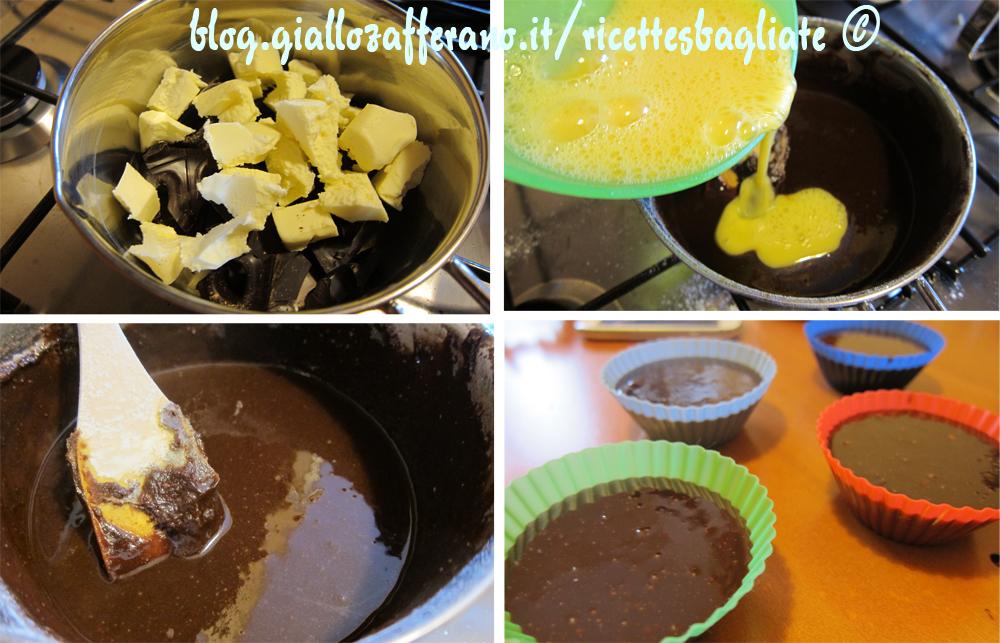tortino al cioccolato preparazione