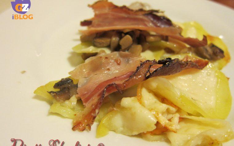 Tortino di patate con funghi e speck, ricetta piatto unico