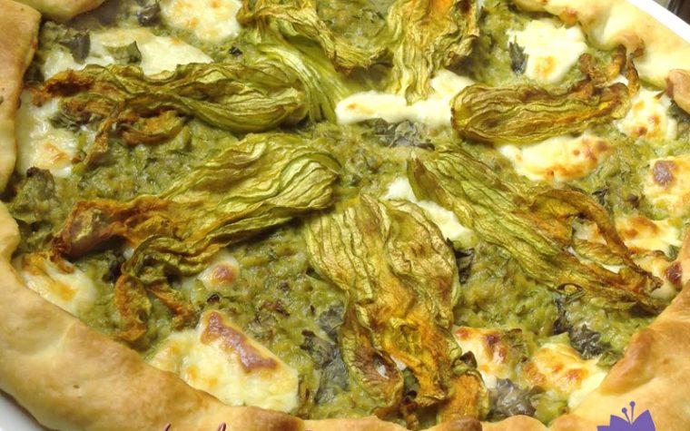 Torta rustica fiori di zucca e zucchine