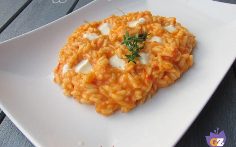 Risotto mozzarella e pomodoro, aromatizzato al timo