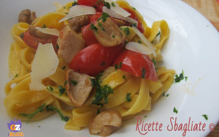 Fettuccine porcini, pachino e pecorino – ricetta facile ma d'effetto