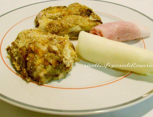 Tortino di fiori di zucca con prosciutto e formaggio