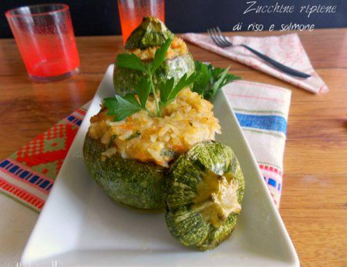 Zucchine tonde ripiene di riso e salmone