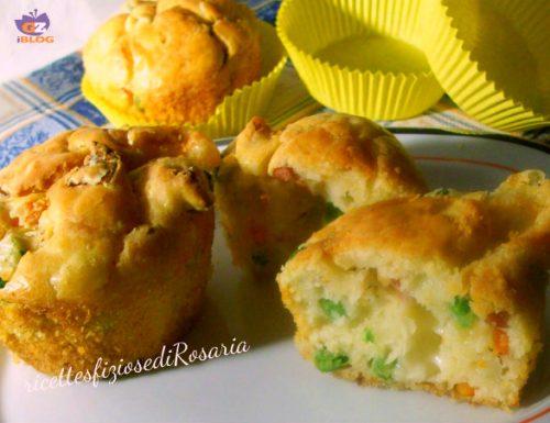 Muffin con verdure wurstel e formaggio