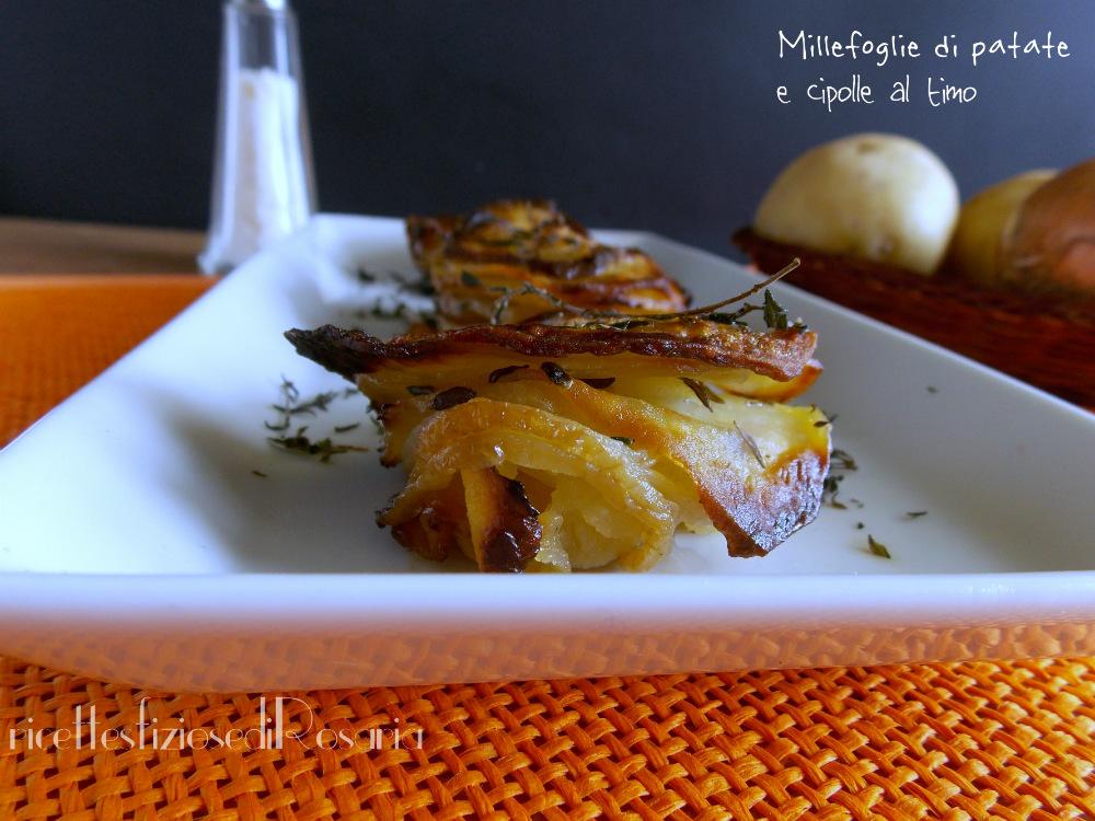 Millefoglie di patate e cipolle al timo - ricetta contorno sfizioso