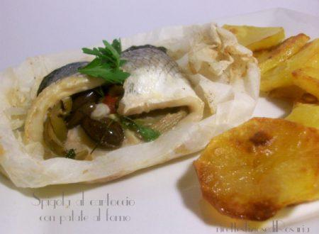 Spigola al cartoccio con patate al forno