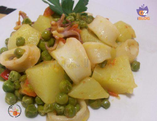 Calamari in umido con patate e piselli