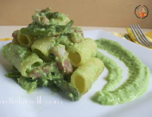 Pasta asparagi con crema di fave e pecorino