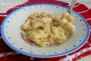 Gnocchi con speck e gorgonzola al mascarpone