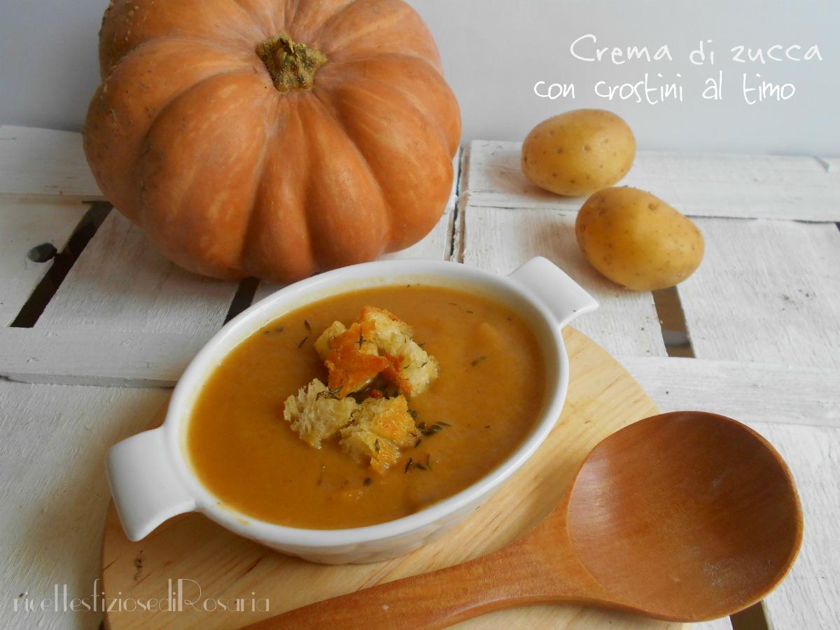 Crema di zucca con crostini al timo - ricetta primo gustoso