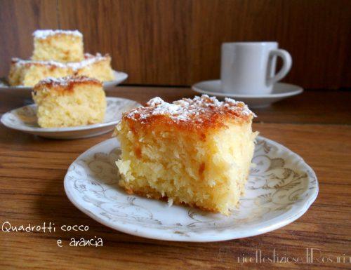 Quadrotti cocco e arancia – ricetta senza farina