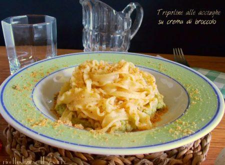 Tripoline alle acciughe su crema di broccolo romano