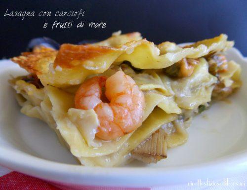 Lasagna con carciofi e frutti di mare