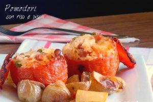 Pomodori con riso piselli e patate