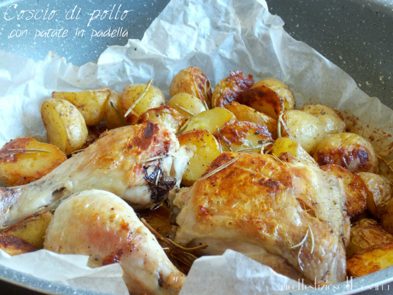 Coscio di pollo con patate novelle cotto in padella