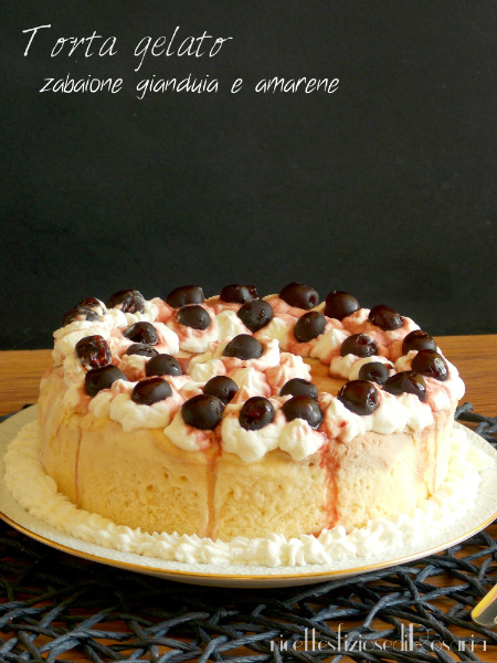 Torta gelato zabaione gianduia e amarene