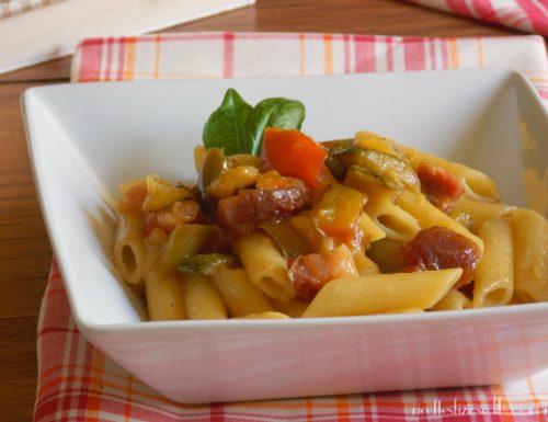 Penne alle verdure e pancetta