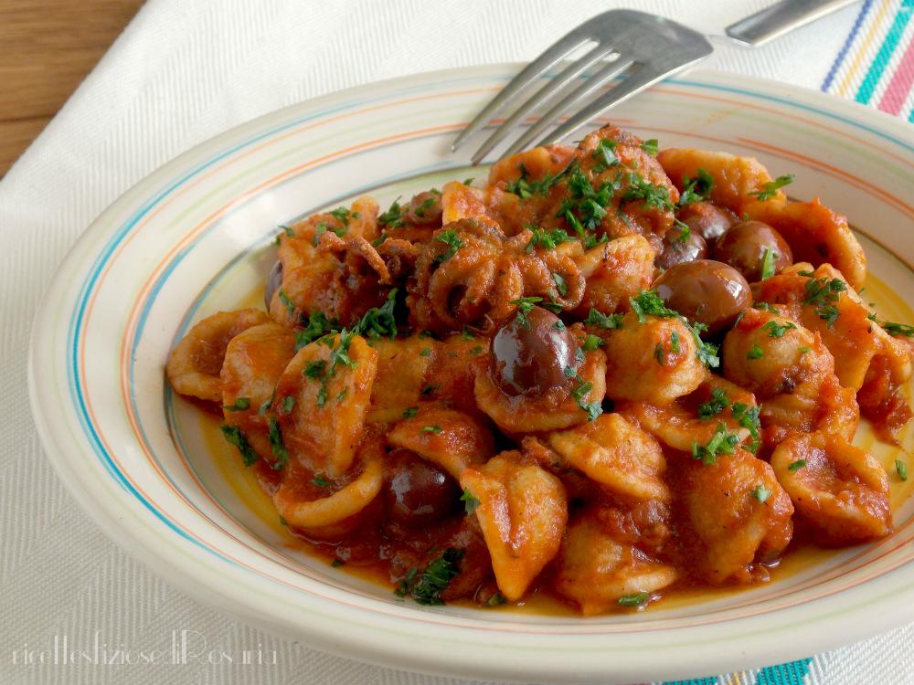 Orecchiette integrali con moscardini ed olive
