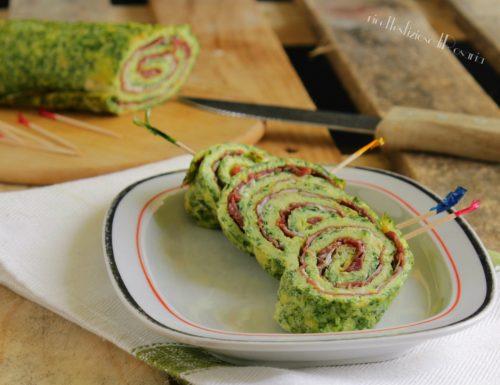 Frittata rucola bresaola e parmigiano arrotolata