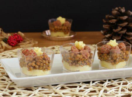 Cotechino lenticchie e polenta nel bicchiere