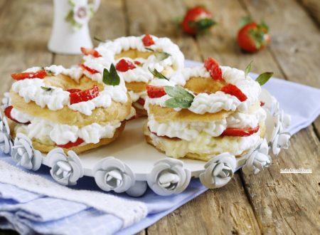 Mini paris brest crema panna e fragole