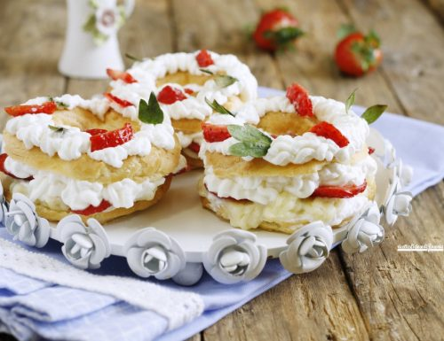 Mini paris brest crema panna e fragole
