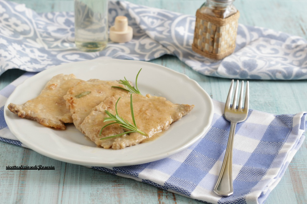 scaloppine di arista al vino