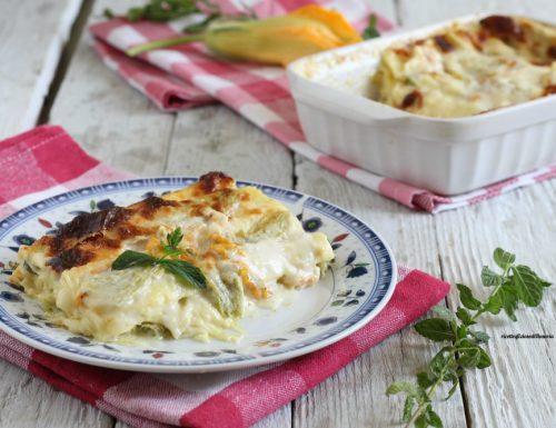 Lasagna zucchine fiori e menta