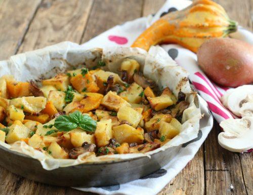 Zucca patate e funghi al forno