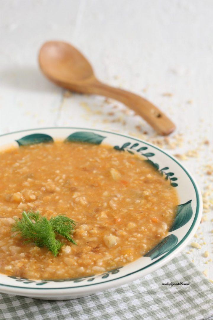 zuppa cereali e finocchio