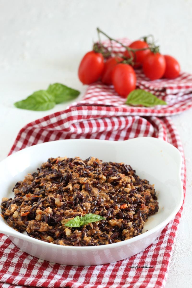 riso venere al pesto di pomodorini