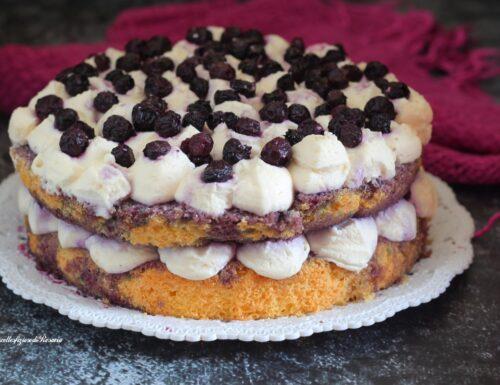 Torta con mirtilli e cioccolato bianco