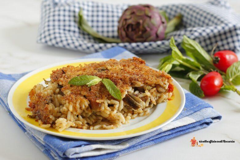 timballo di riso con carciofi