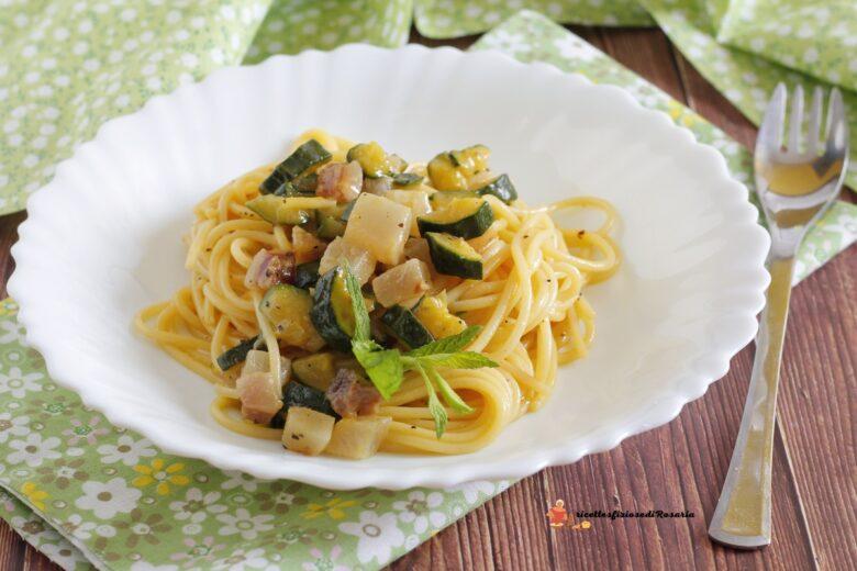 carbonara con zucchine e menta