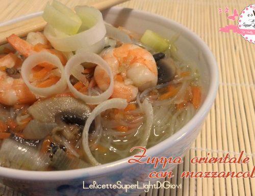 Zuppa orientale light con mazzancolle e vermicelli (133 calorie)