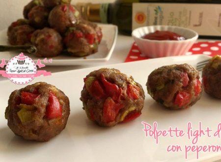 Polpette light di pollo con peperoni -senza uova, cotte al forno (33 calorie a polpetta)