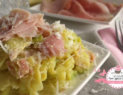 Tagliatelle di zucchine light alla carbonara di prosciutto (227 calorie)