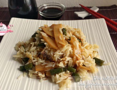 Riso saltato light con fagiolini croccanti e bambù (303 calorie)