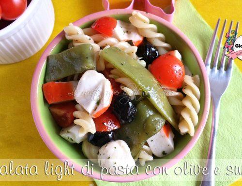 Insalata light di pasta con olive e surimi