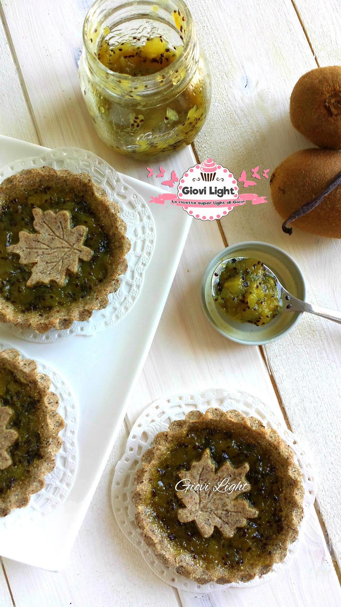 Crostatine di grano saraceno e marmellata di kiwi light alla vaniglia