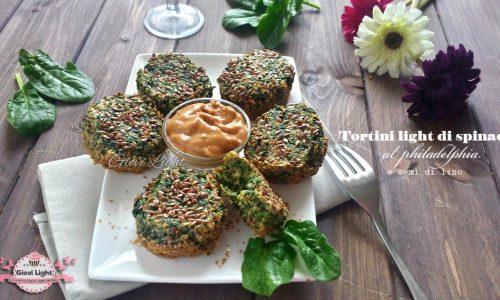 Tortini light di spinaci al philadelphia e semi di lino