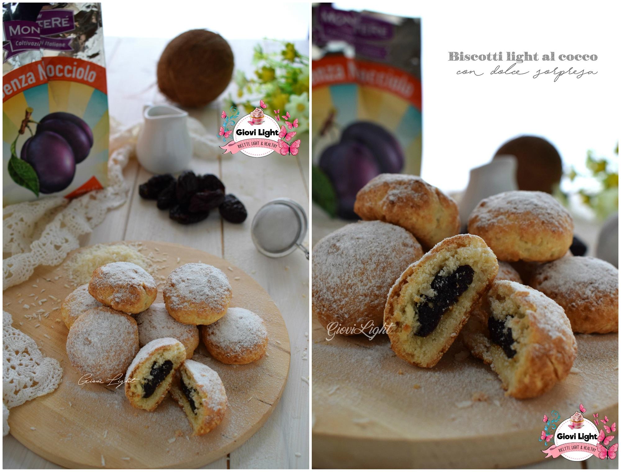 Biscotti light al cocco con dolce sorpresa