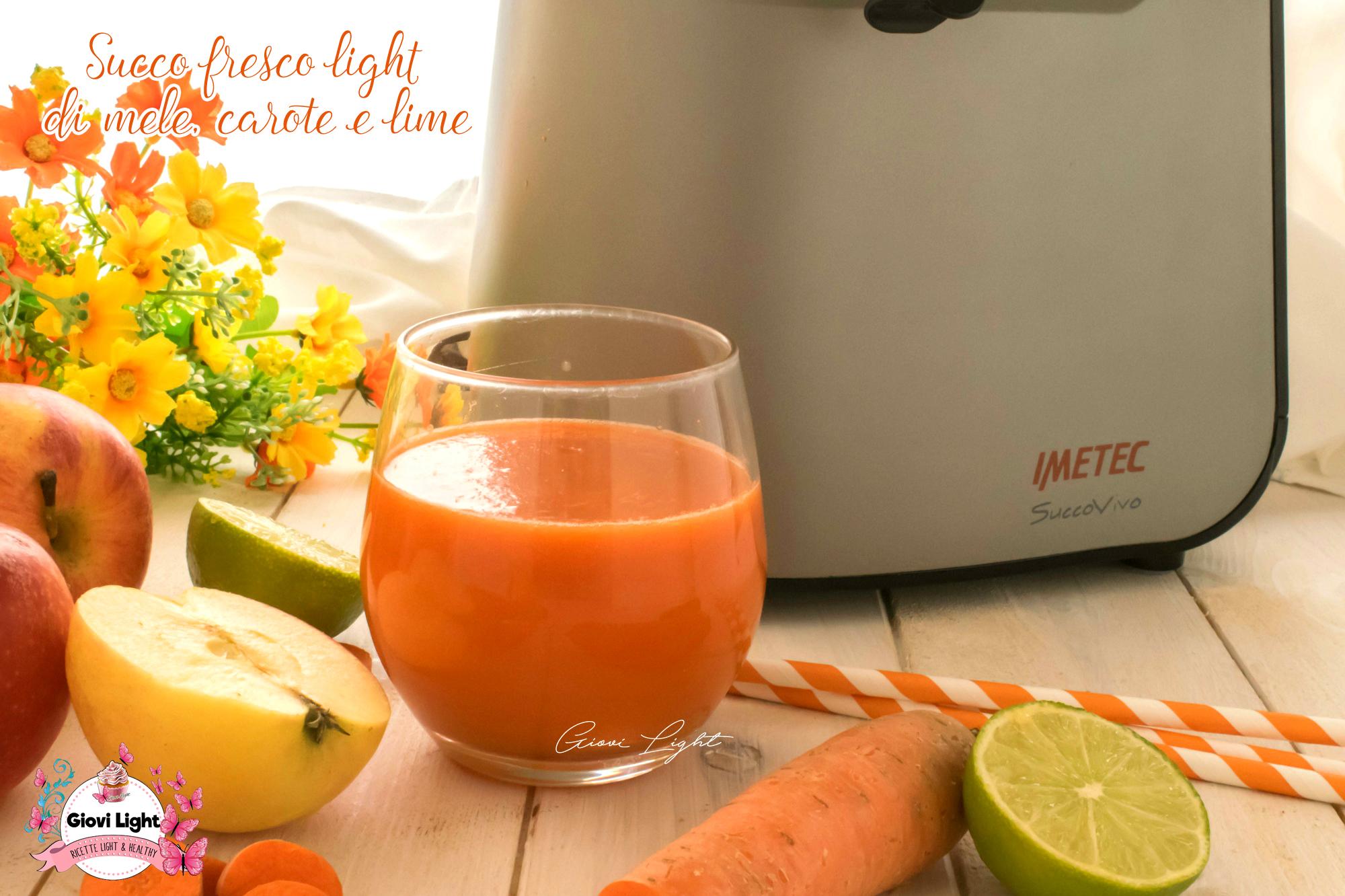Succo fresco light di mele, carote e lime