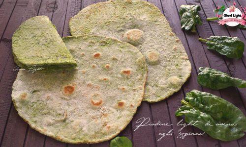 Piadine light di avena agli spinaci