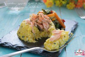 Ciambelline speziate light di riso con salmone e verdure